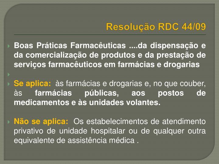 Resolução RDC 44/09