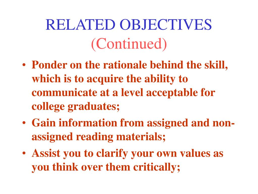RELATED OBJECTIVES