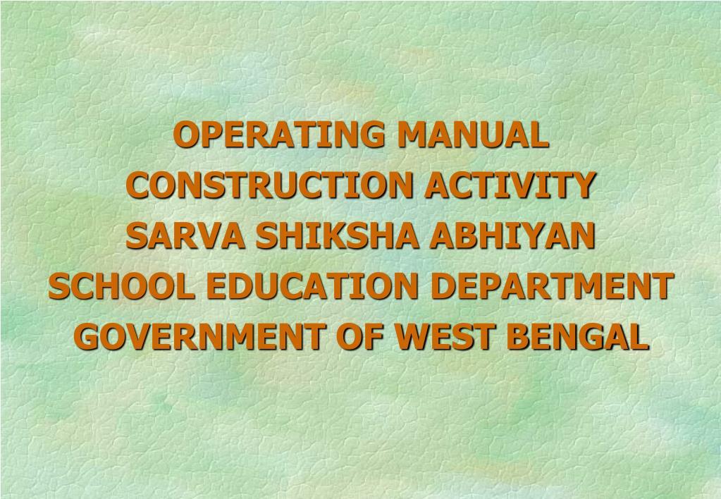 OPERATING MANUAL CONSTRUCTION ACTIVITY