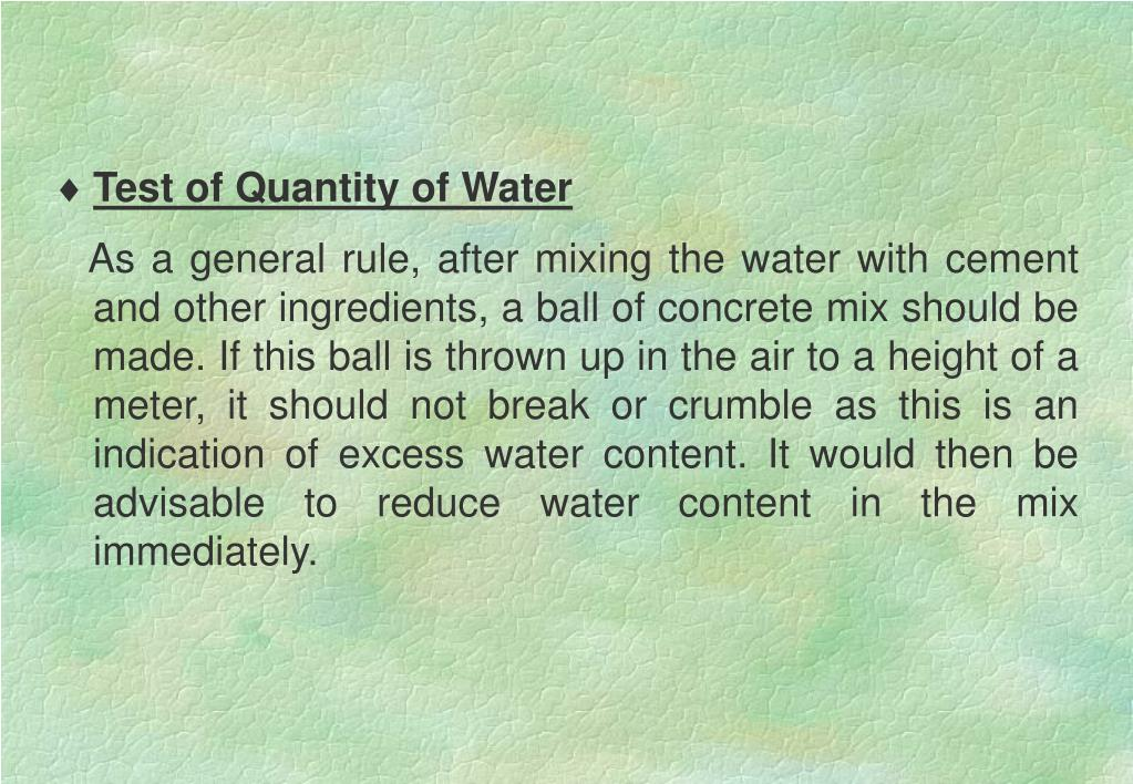 Test of Quantity of Water