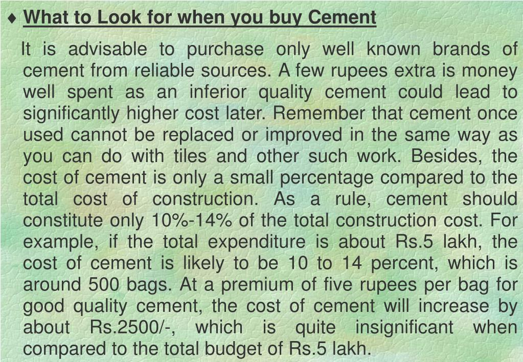 What to Look for when you buy Cement