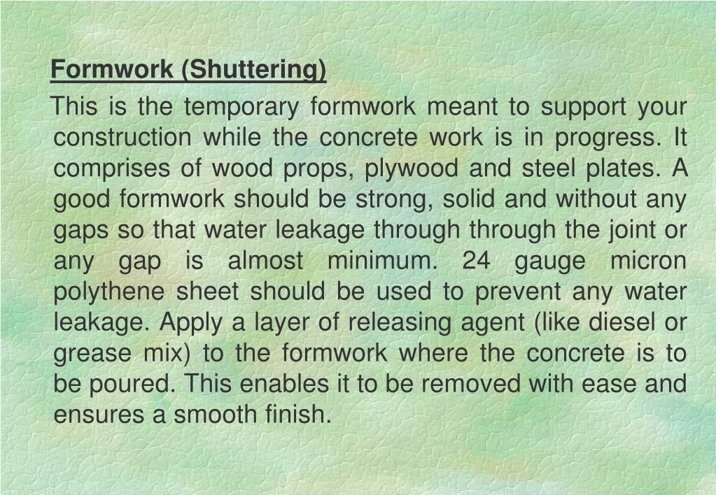 Formwork (Shuttering)