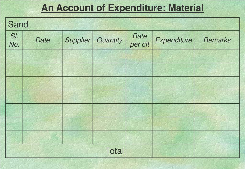 An Account of Expenditure: Material