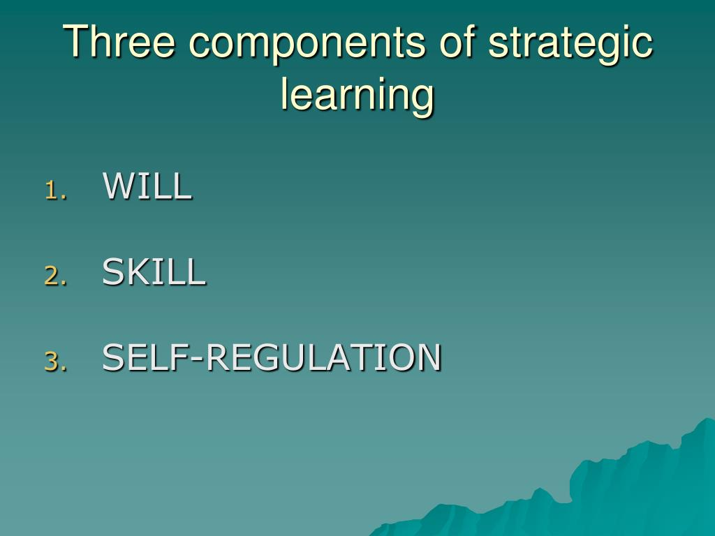 Three components of strategic learning
