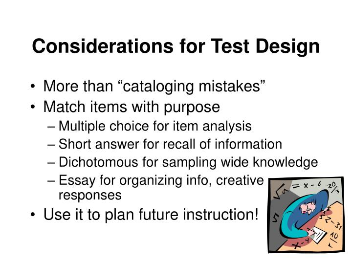 Considerations for Test Design