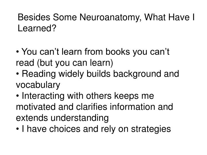 Besides Some Neuroanatomy, What Have I Learned?