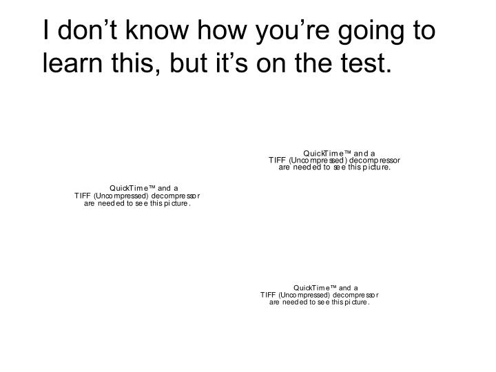 I don't know how you're going to learn this, but it's on the test.