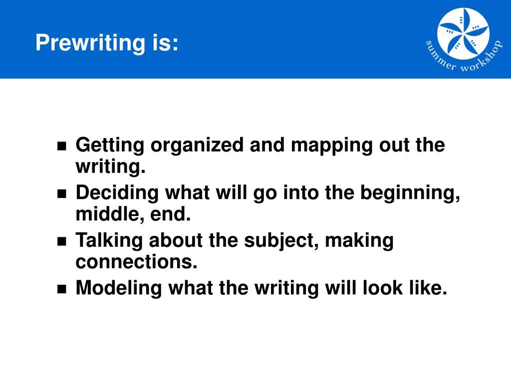 Prewriting is: