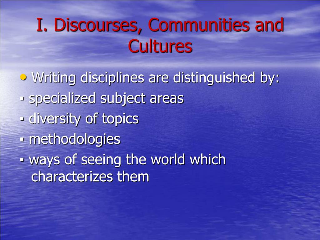 I. Discourses,