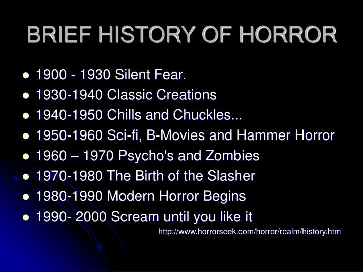 BRIEF HISTORY OF HORROR