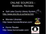 online sources booklists reviews