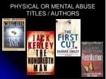 physical or mental abuse titles authors3