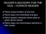 reader s advisory for the non horror reader