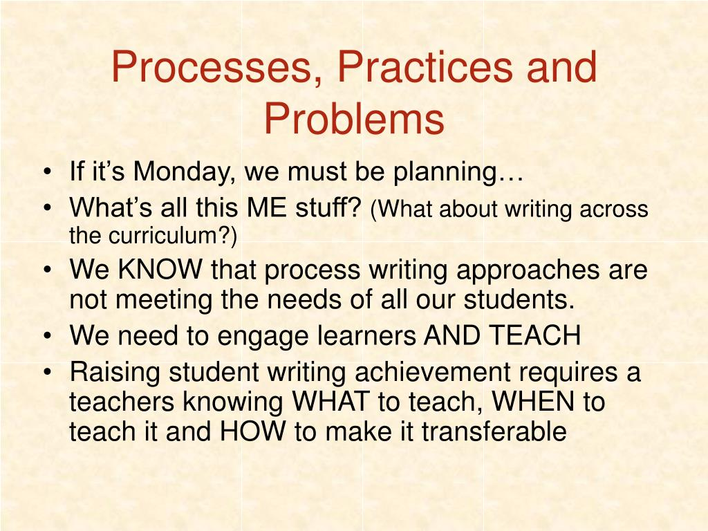 Processes, Practices and Problems