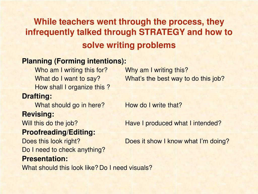 While teachers went through the process, they infrequently talked through STRATEGY and how to solve writing problems