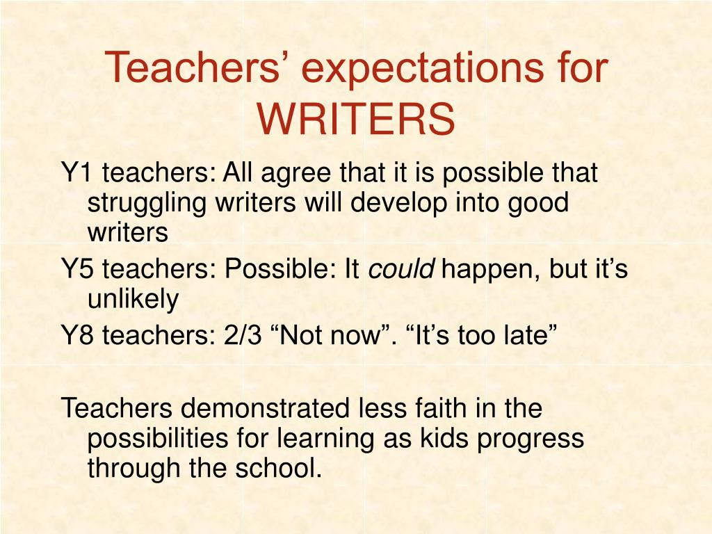 Teachers' expectations for WRITERS
