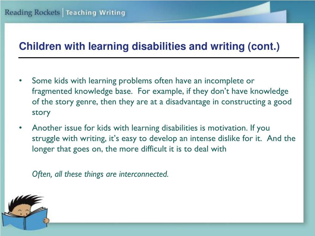 Children with learning disabilities and writing (cont.)