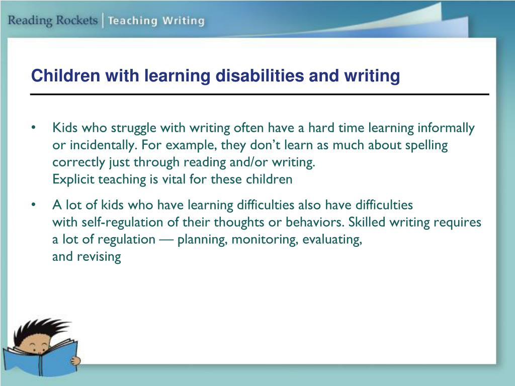 Children with learning disabilities and writing
