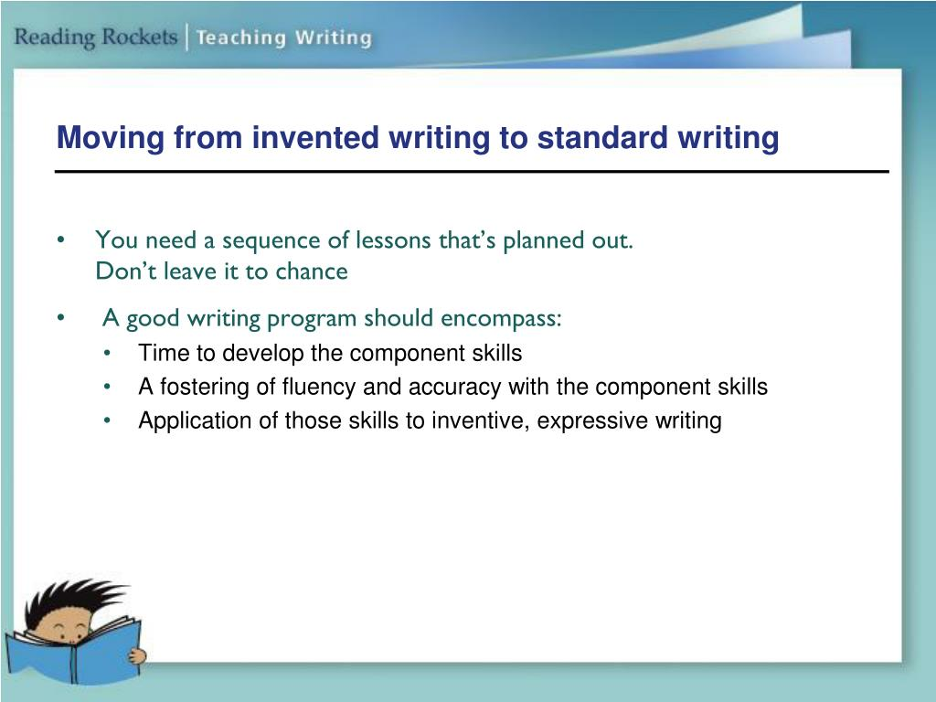 Moving from invented writing to standard writing