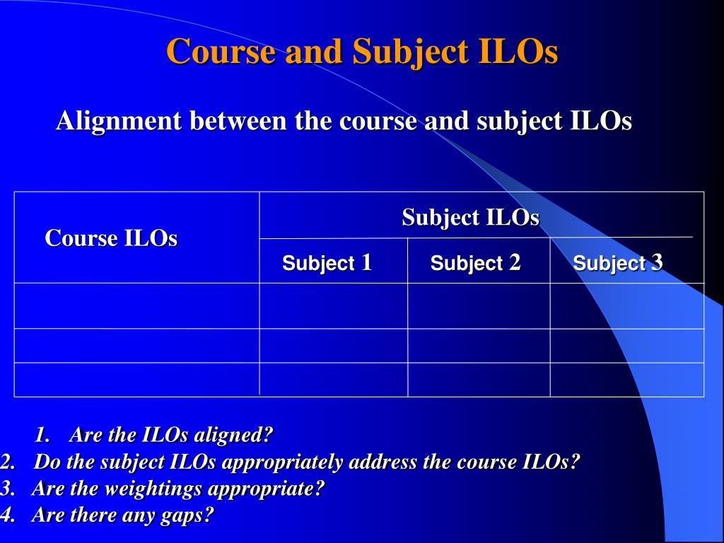 Subject ILOs