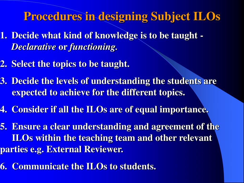 Procedures in designing Subject ILOs