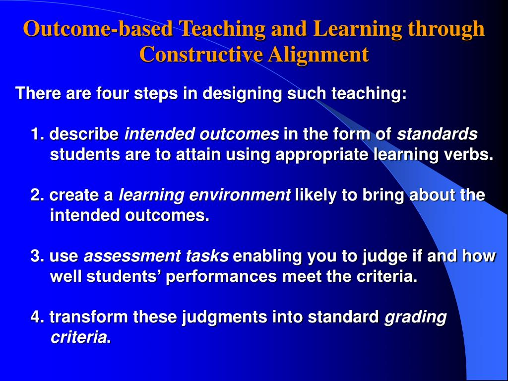 Outcome-based Teaching and Learning through Constructive Alignment