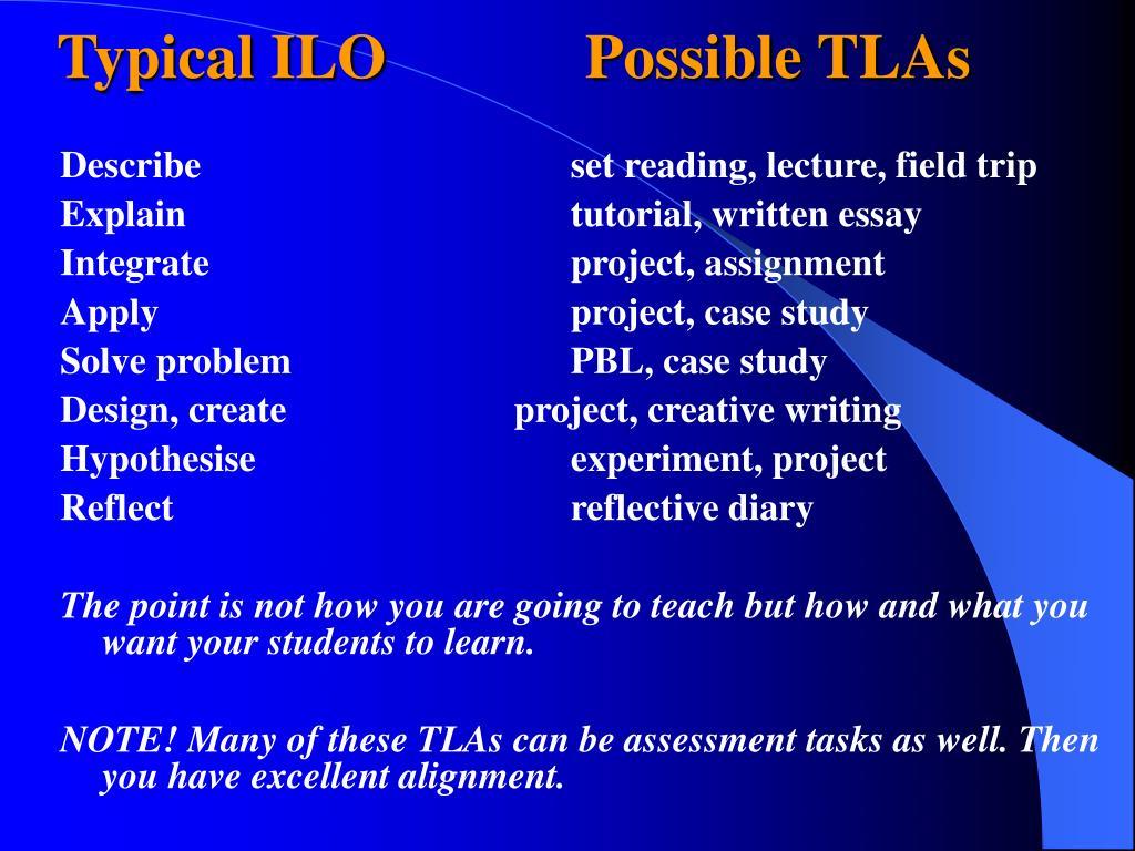 Typical ILO  Possible TLAs
