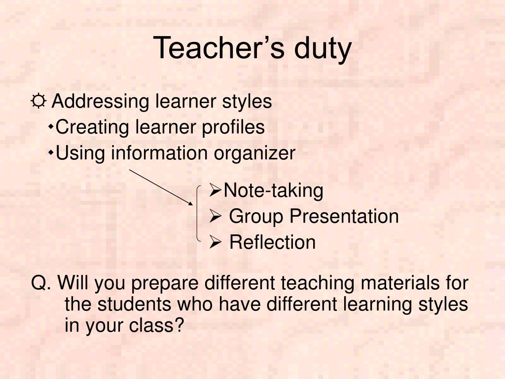 Teacher's duty