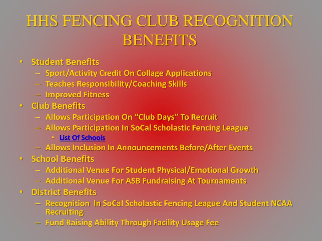 HHS FENCING CLUB RECOGNITION BENEFITS