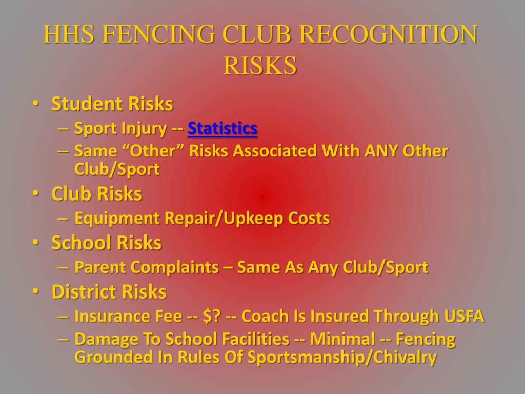 HHS FENCING CLUB RECOGNITION RISKS