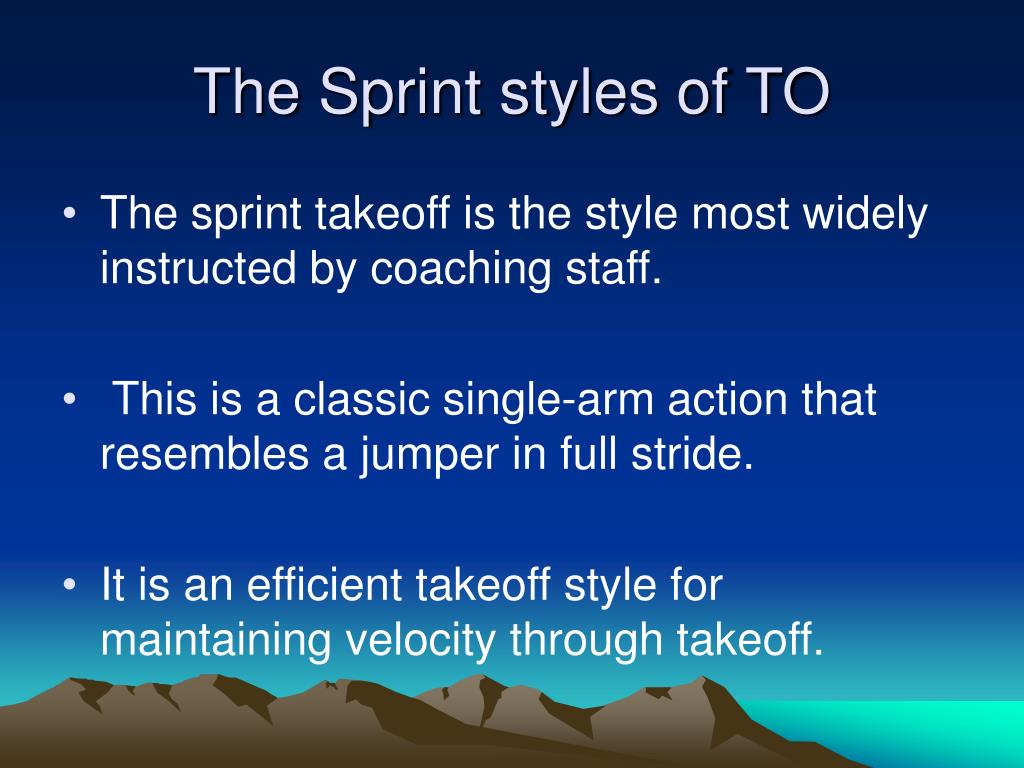 The Sprint styles of TO