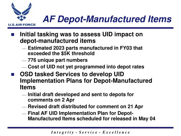 Af depot manufactured items