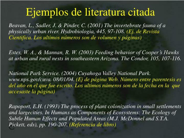 Ejemplos de literatura citada