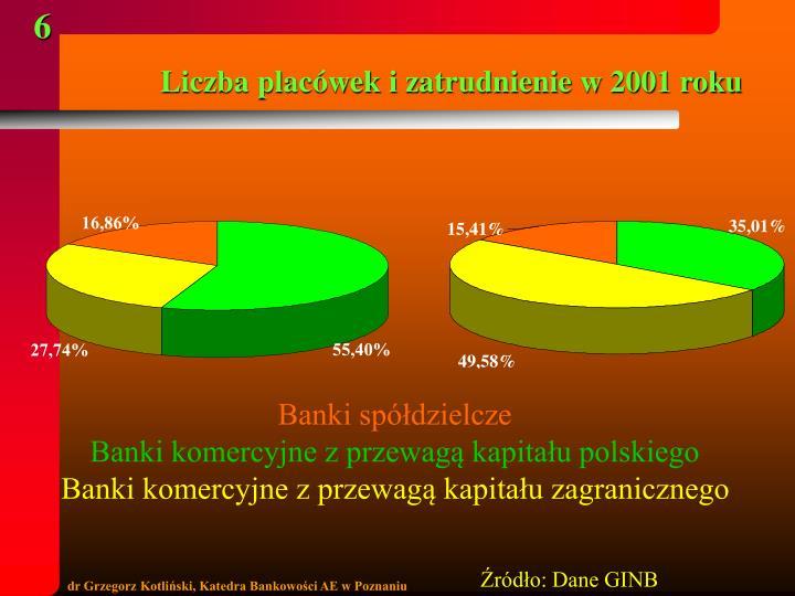 Liczba placówek i zatrudnienie w 2001 roku