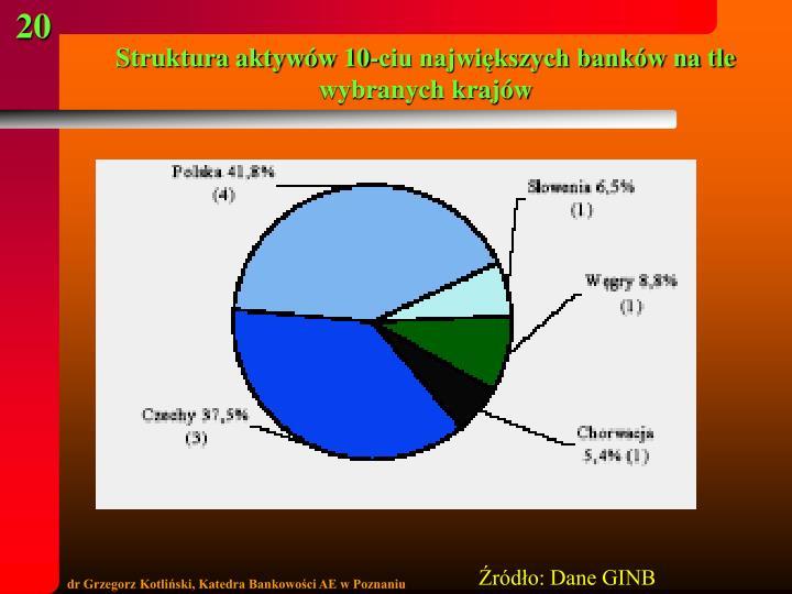 Struktura aktywów 10-ciu największych banków na tle wybranych krajów
