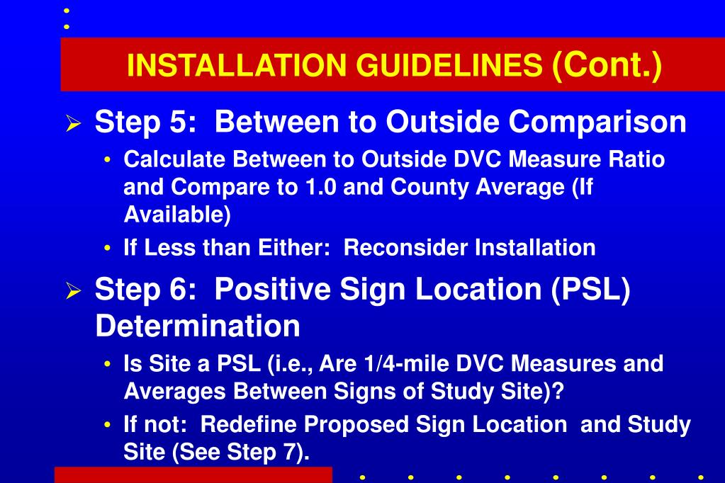 INSTALLATION GUIDELINES