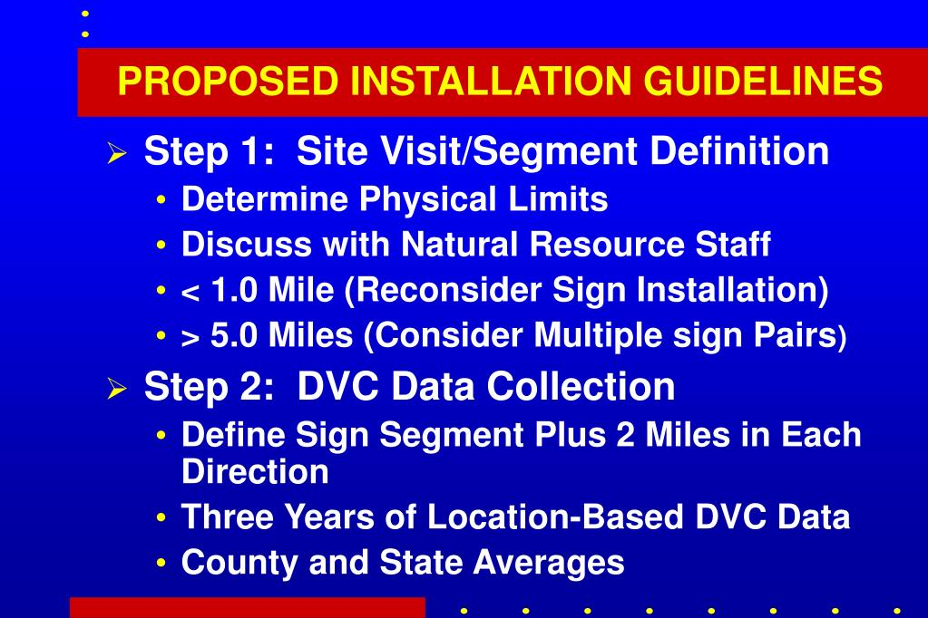 PROPOSED INSTALLATION GUIDELINES