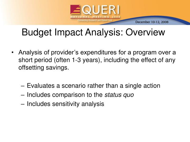 Budget impact analysis overview