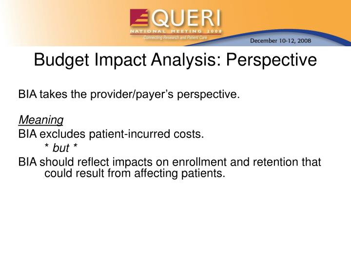 Budget Impact Analysis: Perspective