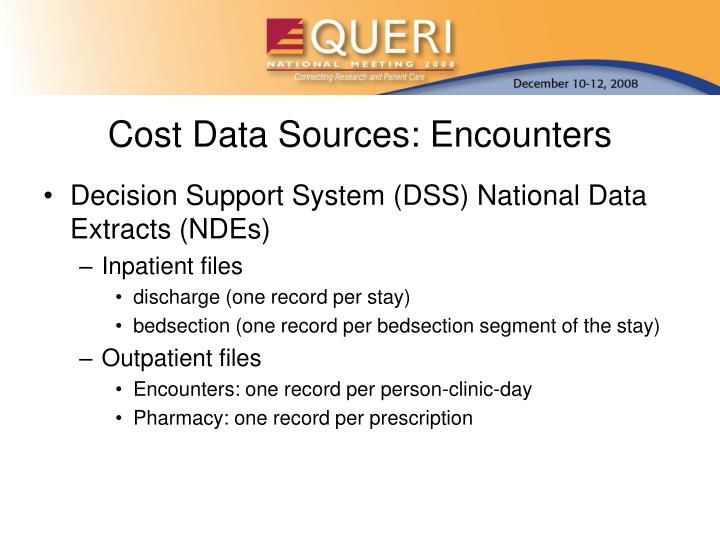 Cost Data Sources: Encounters