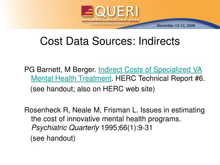 Cost Data Sources: Indirects