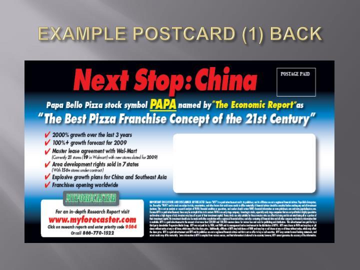 EXAMPLE POSTCARD (1) BACK