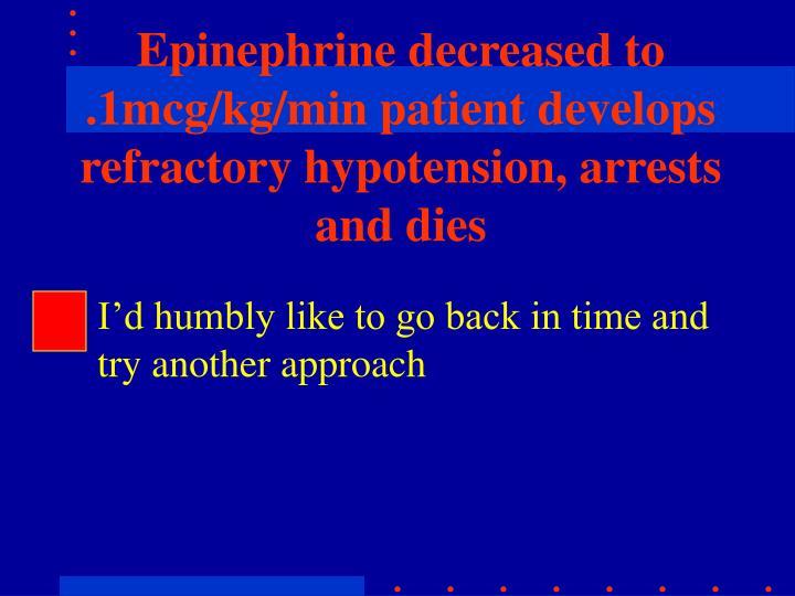 Epinephrine decreased to .1mcg/kg/min patient develops refractory hypotension, arrests and dies