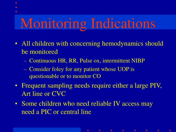 All children with concerning hemodynamics should be monitored