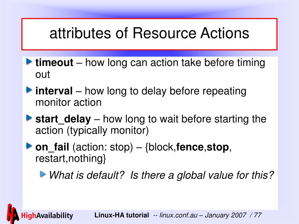 attributes of Resource Actions