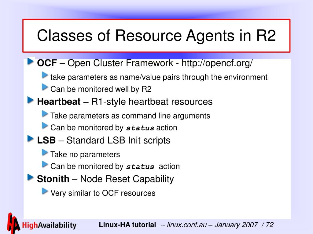 Classes of Resource Agents in R2