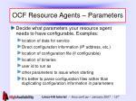 ocf resource agents parameters