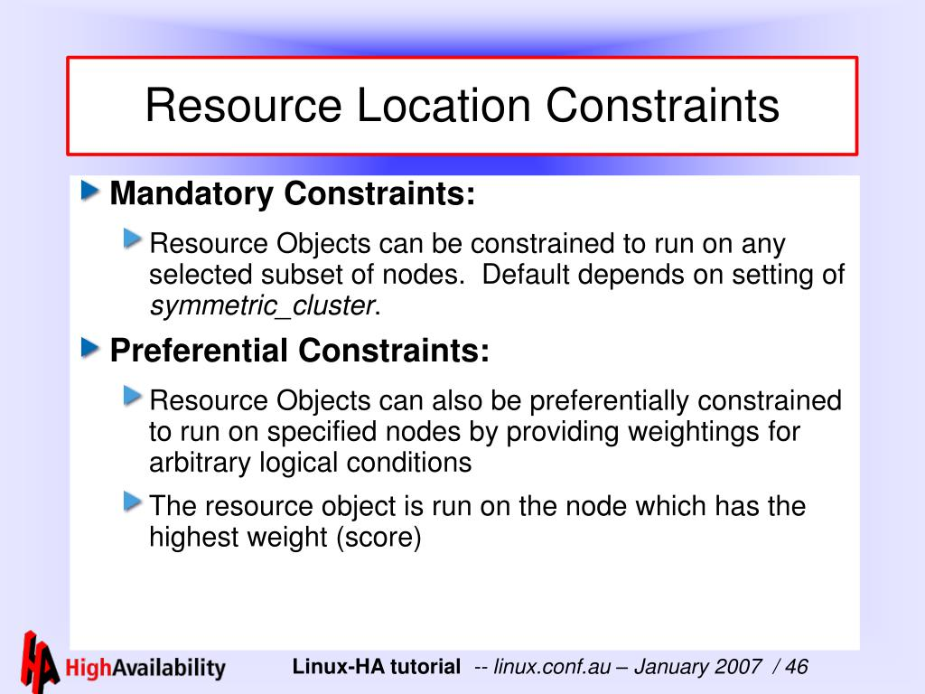 Resource Location Constraints