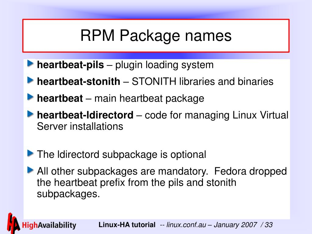 RPM Package names