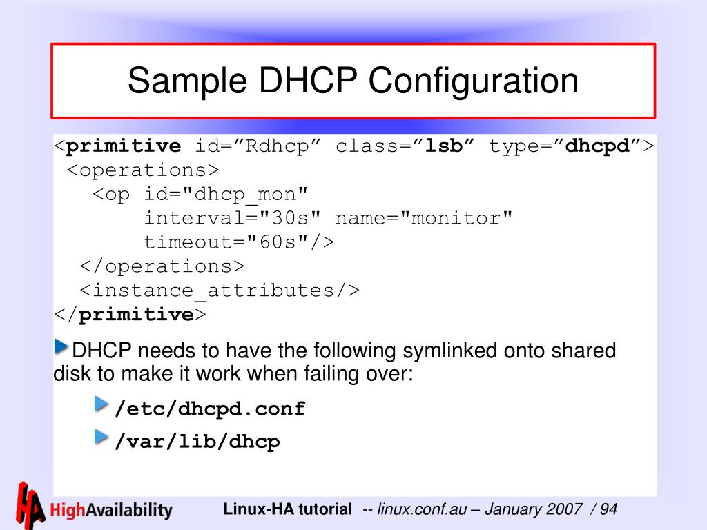 Sample DHCP Configuration